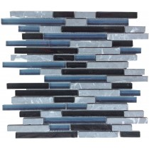 Black Mix Glass & Stone Pencil Mosaic