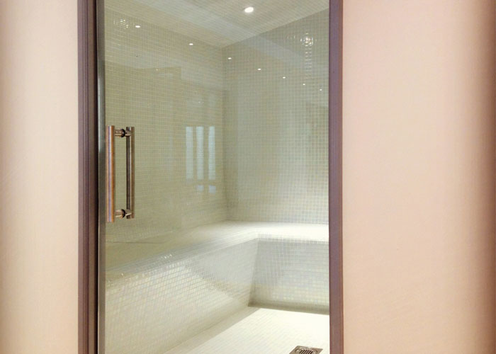 Oceanic Turkish Steam Room Exterior Pearl White Iridescent Mosaic Tiles