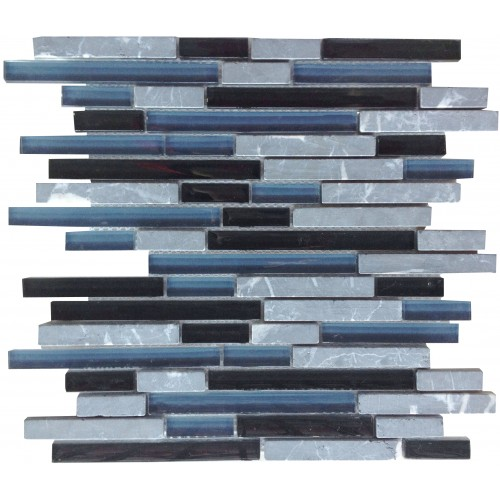 Black Mix Glass & Stone Pencil Mosaic 305 x 305mm