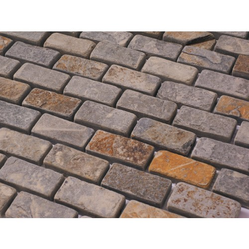 Brick Bond Multi Slate Natural Stone mosaics 300 x 300mm