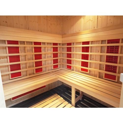 4 Person Infrared Saunarium L Bench & Corner Door  IR2525