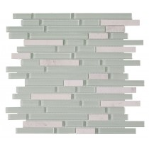 White Mix Glass & Stone Pencil Mosaic 305 x 305mm