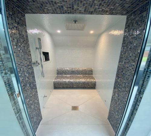 DIY Steam Room Kit with Straight Pearl White and Blue Shell Mosaics