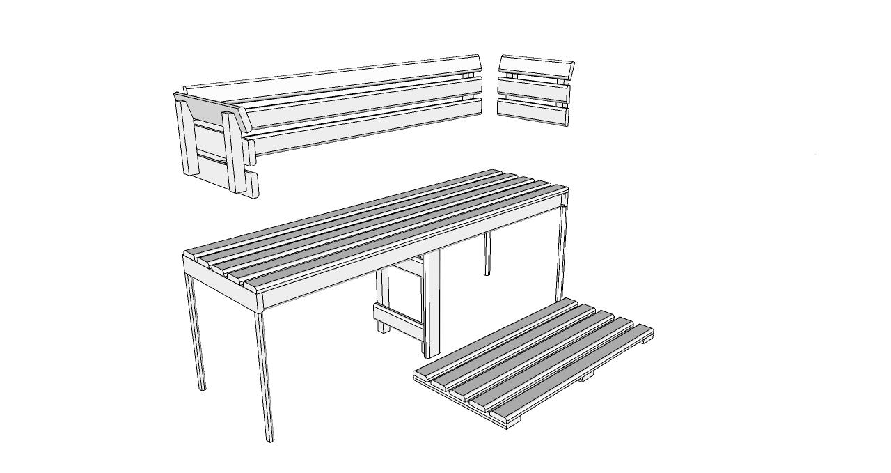 Oceanic Sauna bench, back rest and floor mat kit D1525 Deluxe