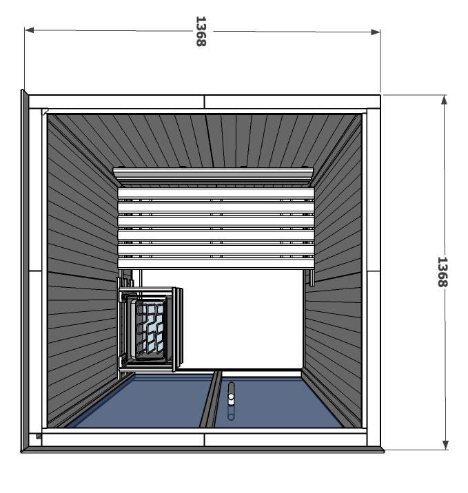 V2020 Hemlock Sauna with additional side wall in Hemlock drawing