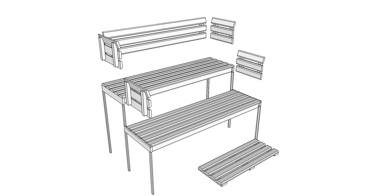 Oceanic Sauna bench, back rest and floor mat kit D2025 deluxe