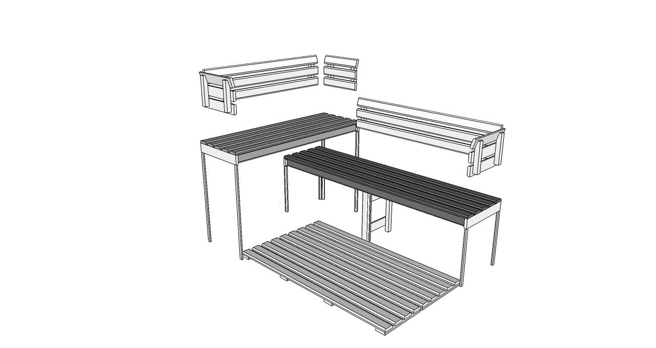 Oceanic Sauna bench, back rest and floor mat kit D2030 Deluxe