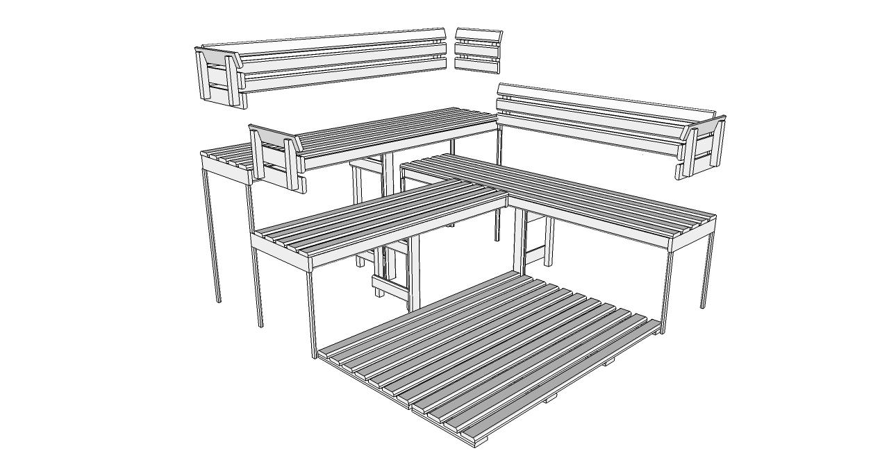 Oceanic Sauna bench, back rest and floor mat kit D3030 Deluxe