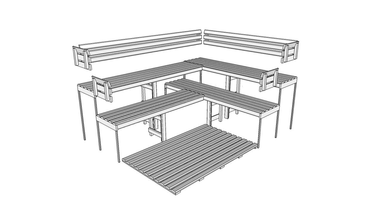 Oceanic Sauna bench, back rest and floor mat kit D3040 Deluxe