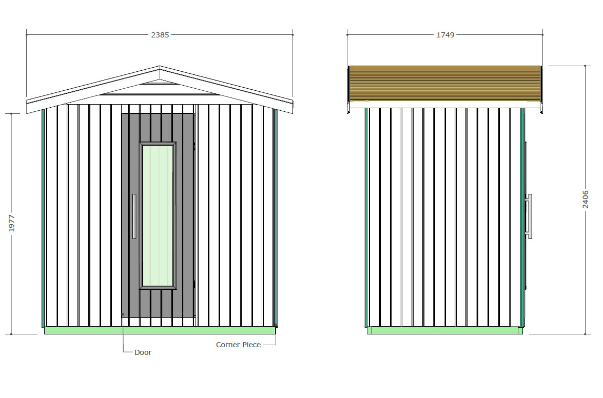 E2030 Outdoor Sauna Technical Drawings