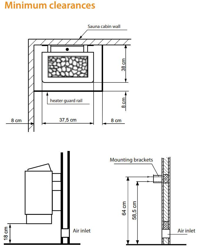 EOS Sauna heater clearance distances