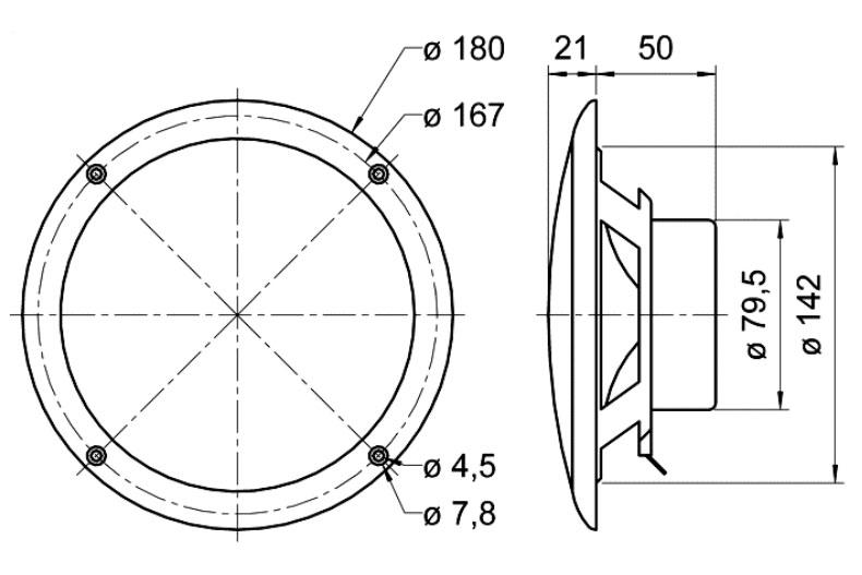 Oceanic Steam Room Speaker 80 degree IP65 technical drawing