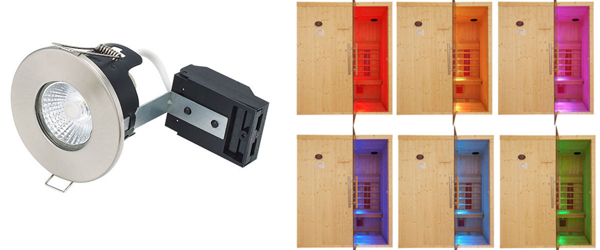 infrared sauna chromotheraphy light with fire rated downlight